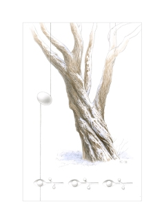 """This tree stands dormant under a fresh January snowfall. The egg and spoon-like forms (originally inner-monk sketchbook drawings) represent elements of a spring that has not yet arrived. Watercolour and graphite, 12""""h x 8""""w. ©Kathryn Chorney"""