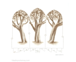 "I'd been interested in this particular tree for a long time before finally figuring out a way to illustrate its varied appearances from these three different angles. The gothic-arched frames were inspired by views through tall windows on a university campus, and offered a way to focus the drawings on the tree's trunk rather than the crown. The trunk seems to twist and dip like two dancers in motion, their tempo far too slow for us to perceive. I like thinking about the scales and dimensions of this universe that we are unequipped to perceive. The egg-like objects and the motifs along the bottom are thoughts about three-dimensional forms making their way through 2-dimensional planes. Watercolour, casein, and colour pencil, approx 11""h x 13""w. ©Kathryn Chorney"