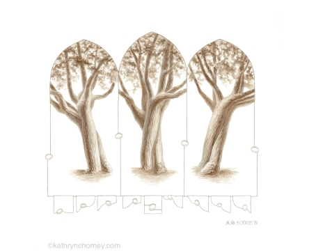 """I'd been interested in this particular tree for a long time before finally figuring out a way to illustrate its varied appearances from these three different angles. The gothic-arched frames were inspired by views through tall windows on a university campus, and offered a way to focus the drawings on the tree's trunk rather than the crown. The trunk seems to twist and dip like two dancers in motion, their tempo far too slow for us to perceive. I like thinking about the scales and dimensions of this universe that we are unequipped to perceive. The egg-like objects and the motifs along the bottom are thoughts about three-dimensional forms making their way through 2-dimensional planes. Watercolour, casein, and colour pencil, approx 11""""h x 13""""w. ©Kathryn Chorney"""