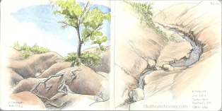 Two sketches in the Cheltenham Badlands, north of the Toronto area. Pencil and watercolour.