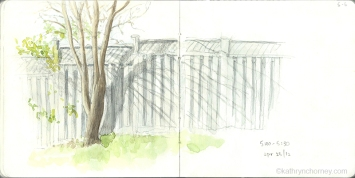 I often look for relationships when sketching in the city. This tree and its shadow have a simple relationship with the fence.