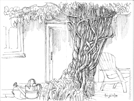 Still sitting around sketching in someone's back yard ... the Sherlock Holmes fan in me calls this house the 'Wisteria Lodge' of Mississauga Ontario.